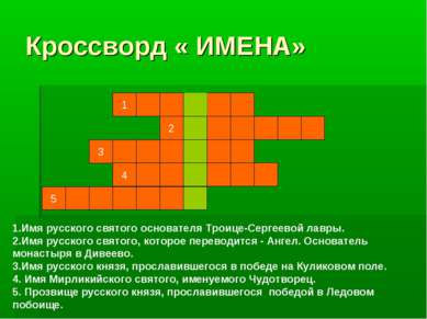 Кроссворд « ИМЕНА» 1 3 2 4 5 1.Имя русского святого основателя Троице-Сергеев...