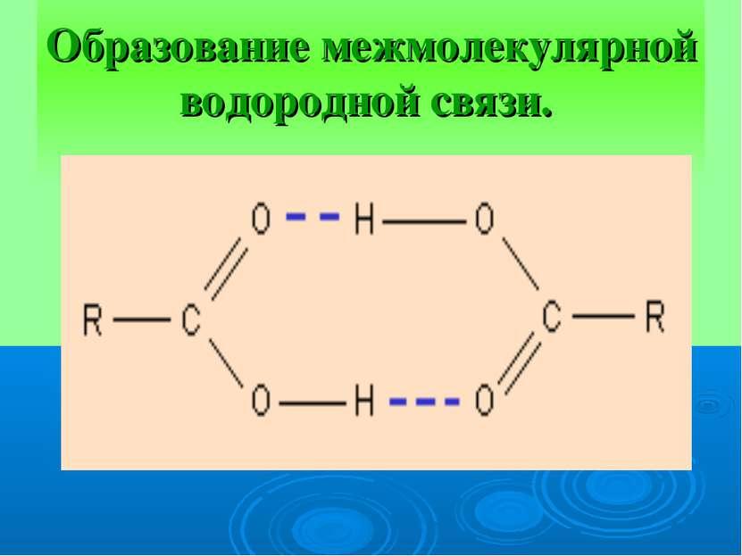 Образование межмолекулярной водородной связи.
