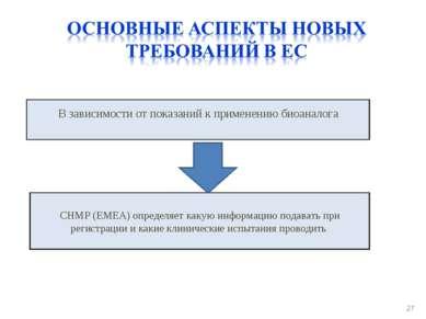 * В зависимости от показаний к применению биоаналога CHMP (EMEA) определяет к...