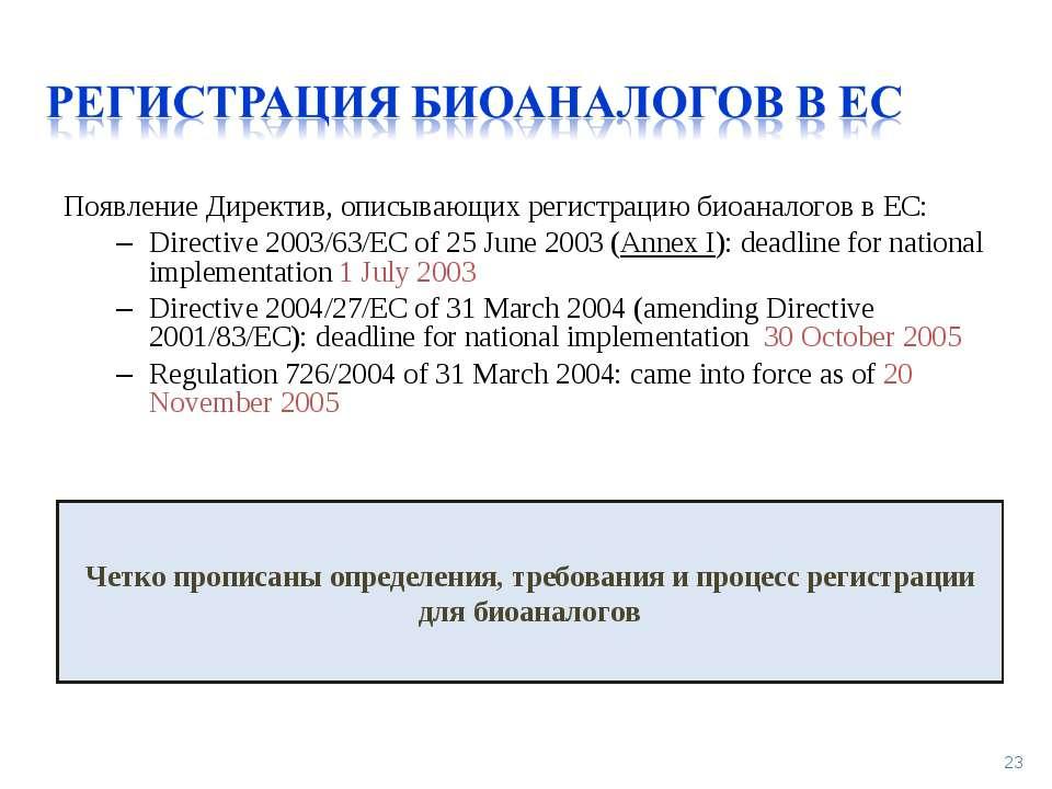 Появление Директив, описывающих регистрацию биоаналогов в ЕС: Directive 2003/...