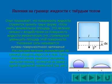 Явления на границе жидкости с твёрдым телом Опыт показывает, что поверхность ...