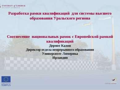 Разработка рамки квалификаций для системы высшего образования Уральского реги...