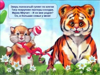 Зверь полосатый гуляет по клетке Тигр покрупнее пантеры-соседки. Мурка Мяучит...