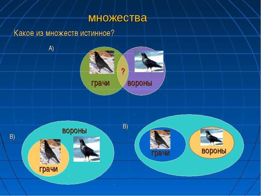 множества А) В) В) грачи грачи грачи вороны вороны вороны ? Какое из множеств...