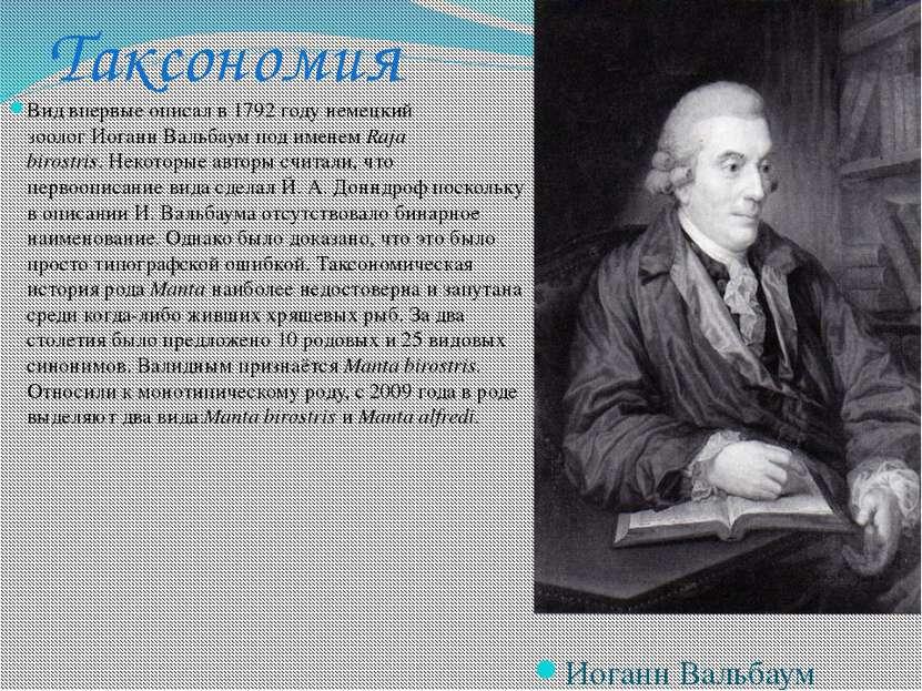 Таксономия Вид впервые описал в 1792 году немецкий зоологИоганн Вальбаумпод...