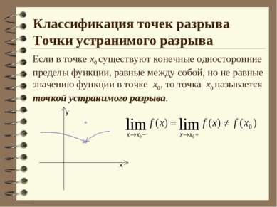 Классификация точек разрыва Точки устранимого разрыва Если в точке х0 существ...