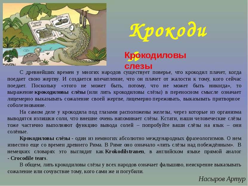 Крокодил С древнейших времен у многих народов существует поверье, что крокоди...