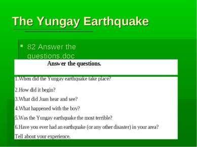 The Yungay Earthquake 82 Answer the questions.doc