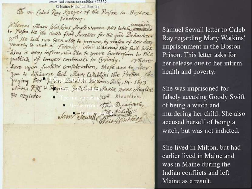 Samuel Sewall letter to Caleb Ray regarding Mary Watkins' imprisonment in the...