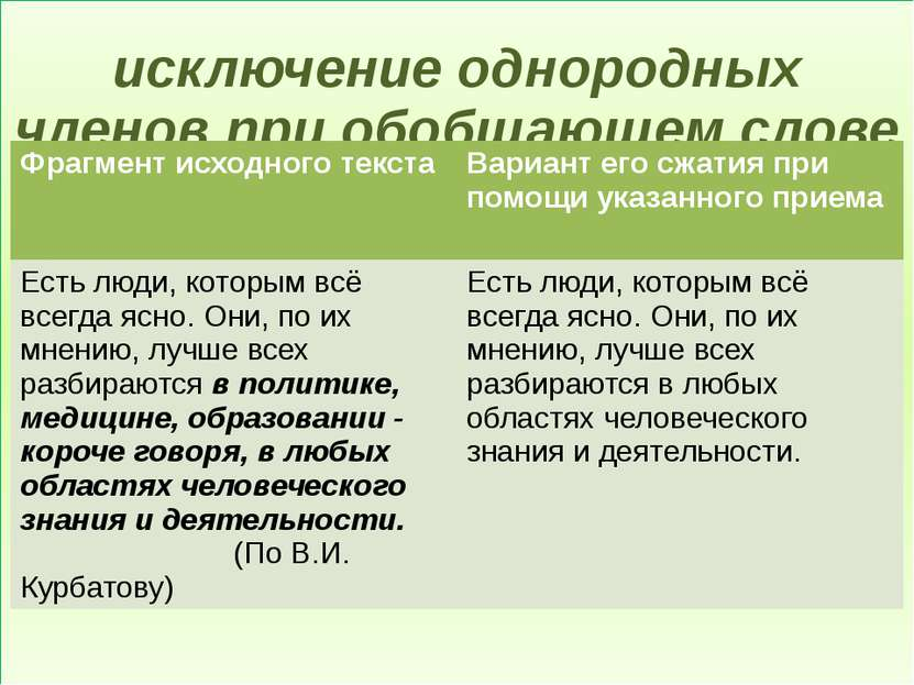 исключение однородных членов при обобщающем слове Фрагмент исходного текста В...