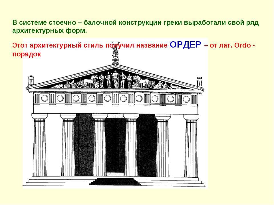 В системе стоечно – балочной конструкции греки выработали свой ряд архитектур...