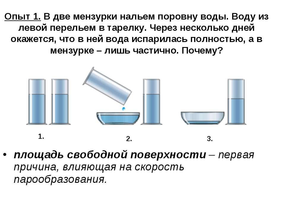 Опыт 1. В две мензурки нальем поровну воды. Воду из левой перельем в тарелку....