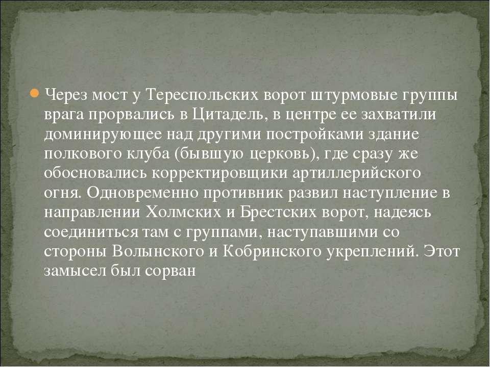 Через мост у Тереспольских ворот штурмовые группы врага прорвались в Цитадель...