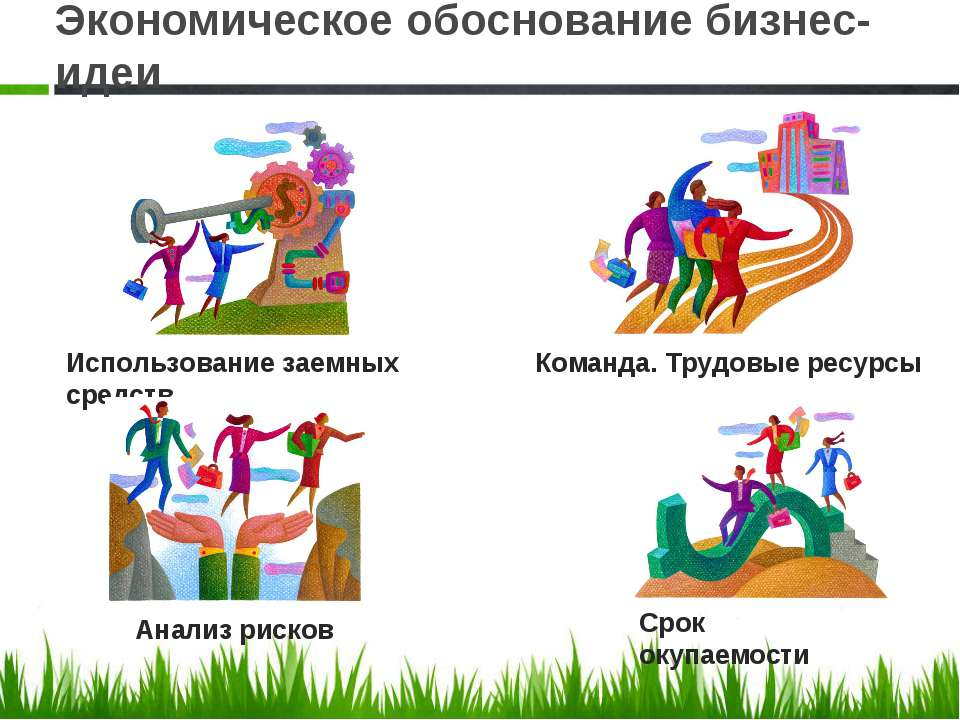 Экономическое обоснование бизнес-идеи Использование заемных средств Команда. ...