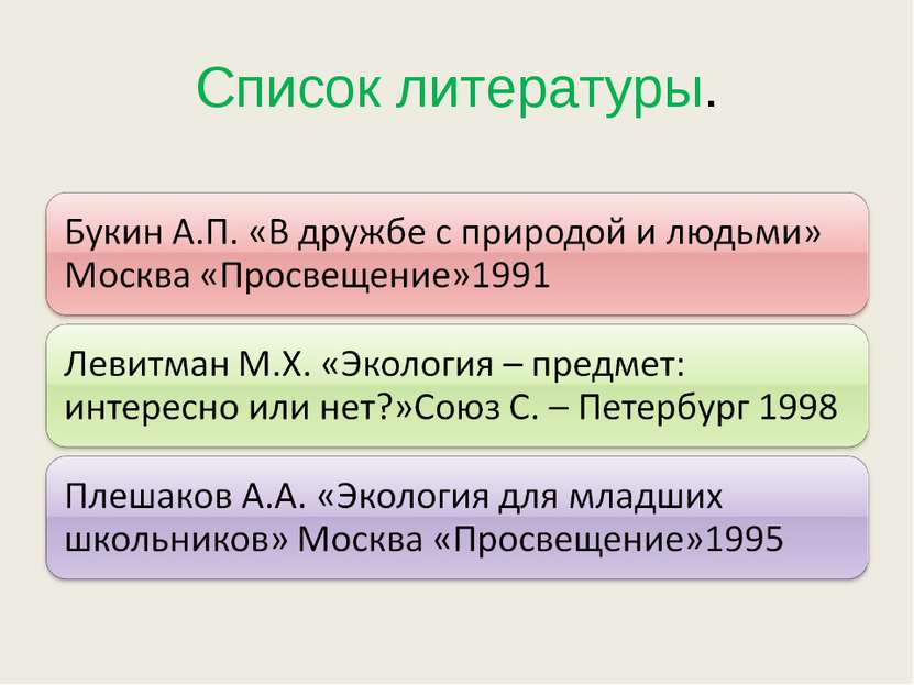 Список литературы.