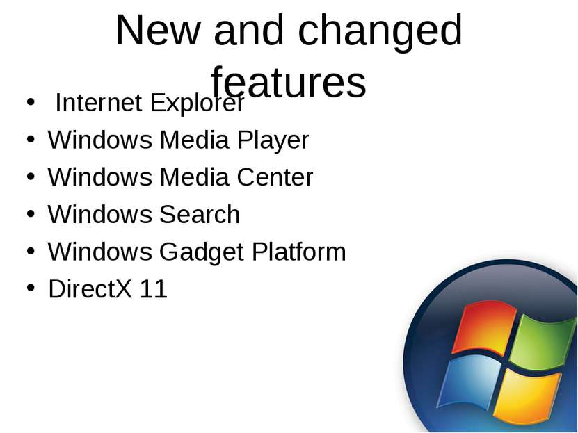 New and changed features Internet Explorer Windows Media Player Windows Media...