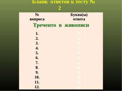 Бланк ответов к тесту № 2 № вопроса Буква(ы) ответа Треченто в живописи 1. б)...