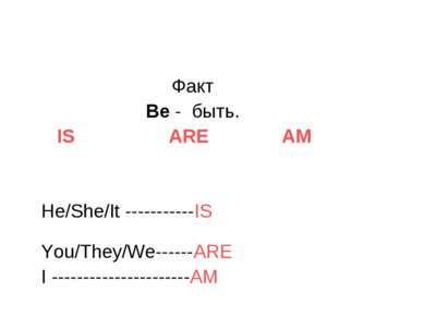 Факт Be - быть. IS ARE AM He/She/It -----------IS You/They/We------ARE I ----...
