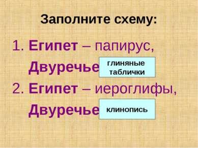 Заполните схему: 1. Египет – папирус, Двуречье - … 2. Египет – иероглифы, Дву...