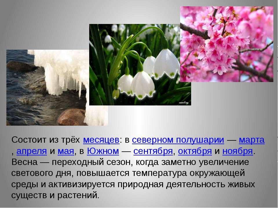 Состоит из трёхмесяцев: всеверном полушарии—марта,апреляимая, вЮжном...