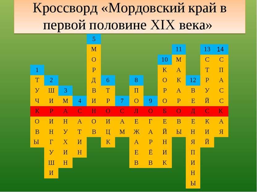 Кроссворд «Мордовский край в первой половине XIX века» 5 М 11 13 14 О 10 М С ...