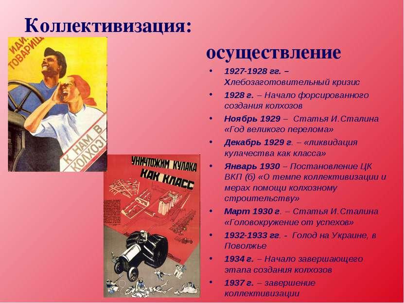 Коллективизация: осуществление 1927-1928 гг. – Хлебозаготовительный кризис 19...