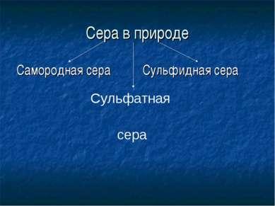 Сера в природе Самородная сера Сульфидная сера Сульфатная сера