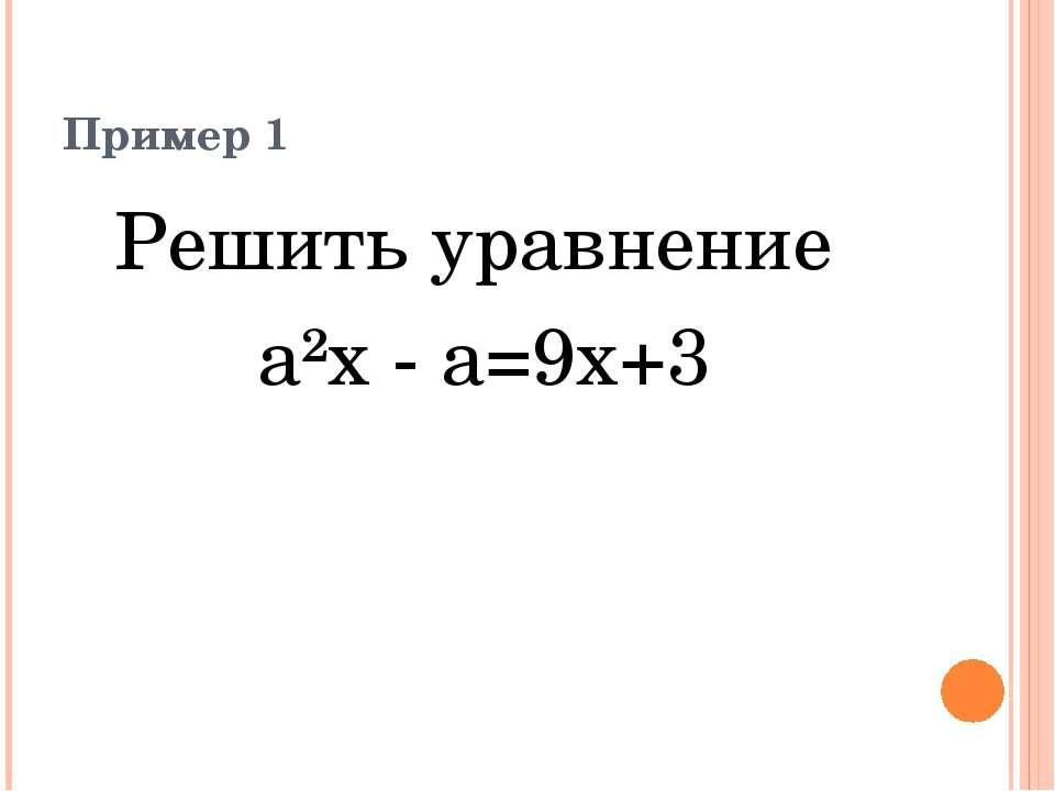 Пример 1 Решить уравнение а²x - a=9x+3