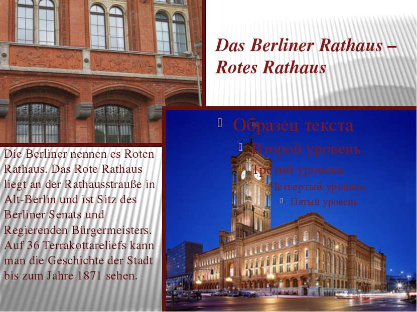 Das Berliner Rathaus – Rotes Rathaus Die Berliner nennen es Roten Rathaus. Da...