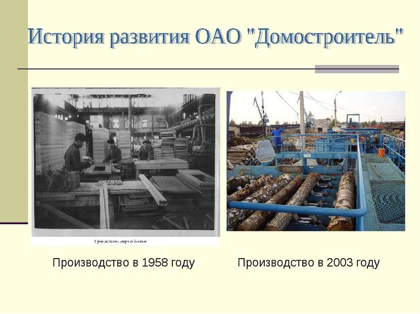 Производство в 1958 году Производство в 2003 году