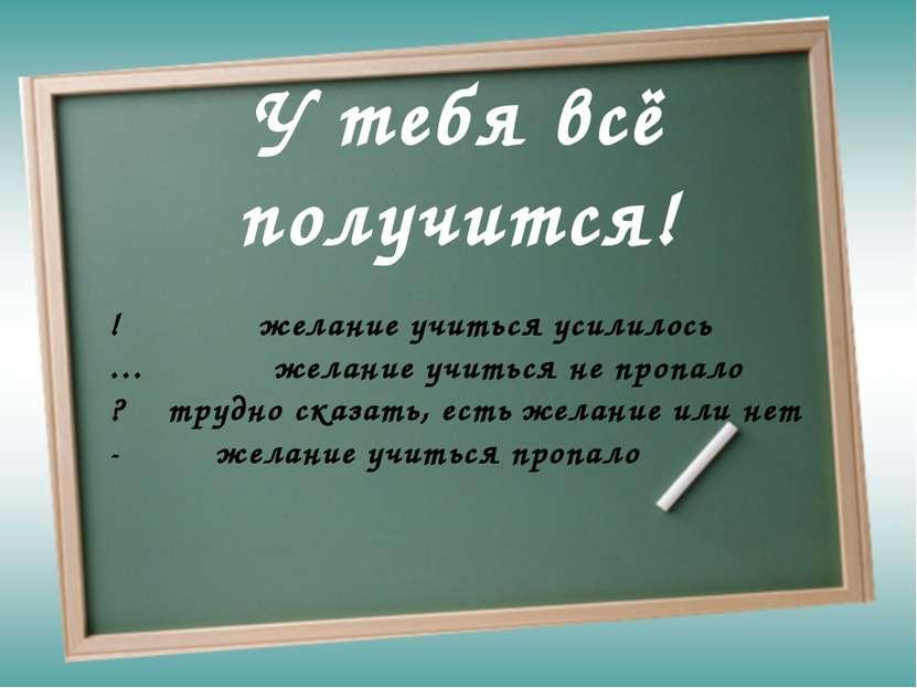У тебя всё получится! ! желание учиться усилилось … желание учиться не пропал...