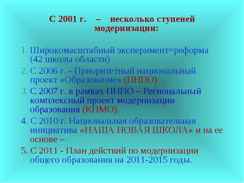С 2001 г. – несколько ступеней модернизации: Широкомасштабный эксперимент=реф...