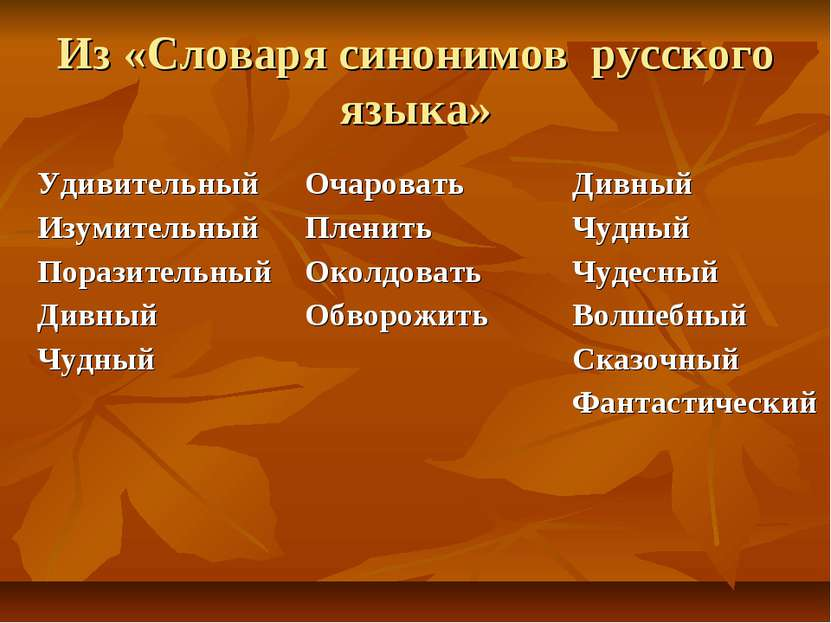 Из «Словаря синонимов русского языка» Удивительный Изумительный Поразительный...