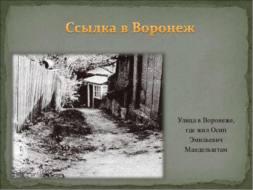 Улица в Воронеже, где жил Осип Эмильевич Мандельштам