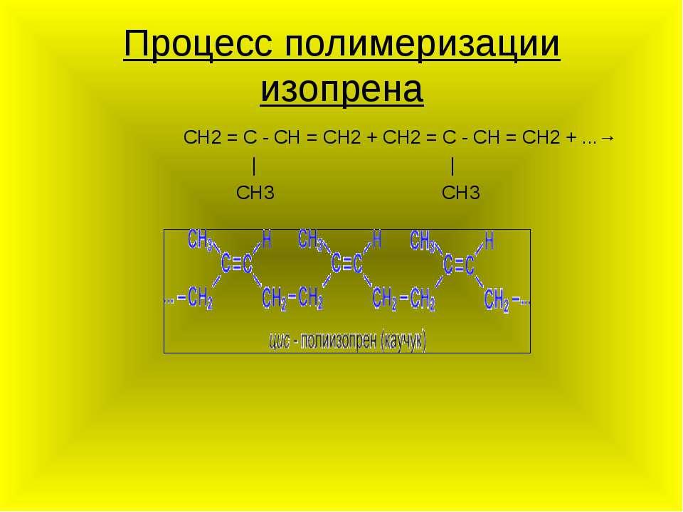 Процесс полимеризации изопрена CH2 = C - CH = CH2 + CH2 = C - CH = CH2 + ...→...
