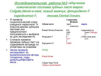 Исследовательская работа №3 «Изучение химического состава зубных паст марок: ...