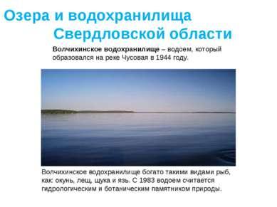 Волчихинское водохранилище – водоем, который образовался на реке Чусовая в 19...