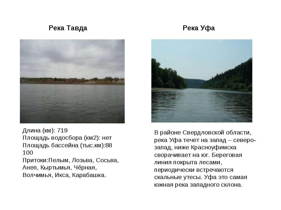 Река Тавда Длина (км): 719 Площадь водосбора (км2): нет Площадь бассейна (тыс...