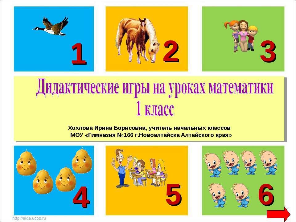 1 2 3 5 6 4 Хохлова Ирина Борисовна, учитель начальных классов МОУ «Гимназия ...