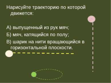Нарисуйте траекторию по которой движется: А) выпущенный из рук мяч; Б) мяч, к...