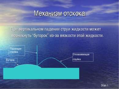 """Механизм отскока При вертикальном падении струи жидкости может возникнуть """"бу..."""