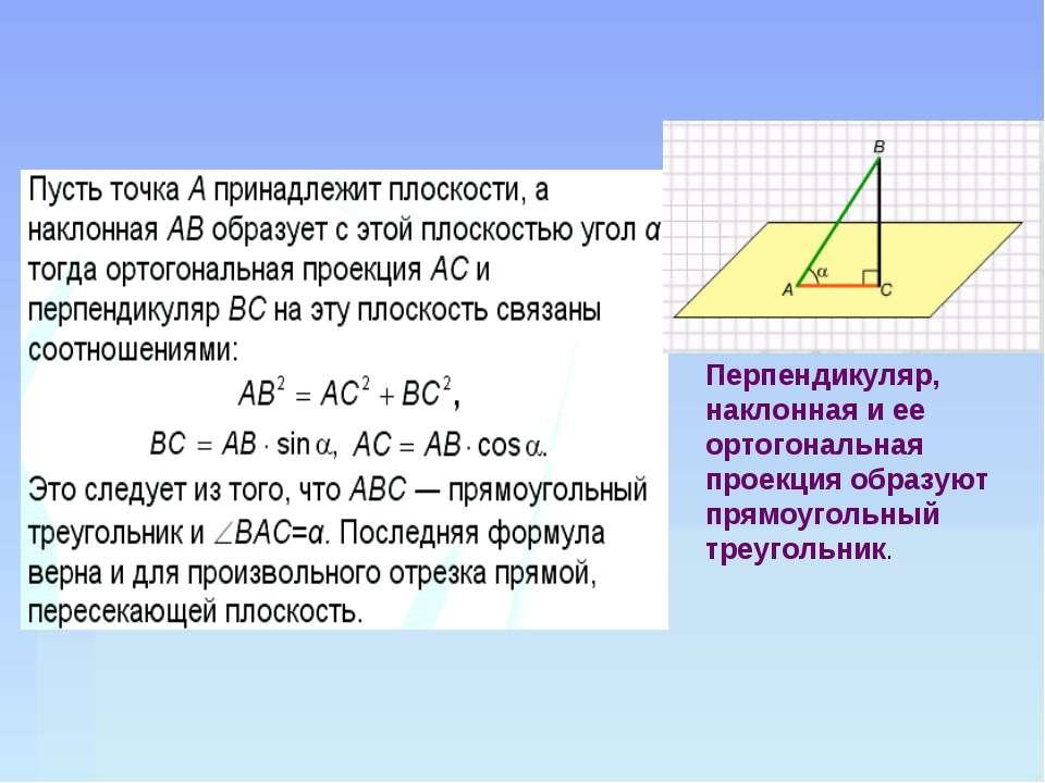 Перпендикуляр, наклонная и ее ортогональная проекция образуют прямоугольный т...