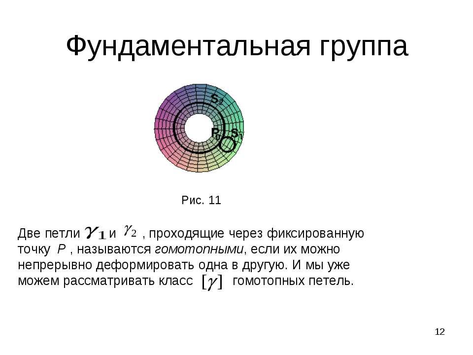 * Фундаментальная группа Рис. 11 Две петли и , проходящие через фиксированную...