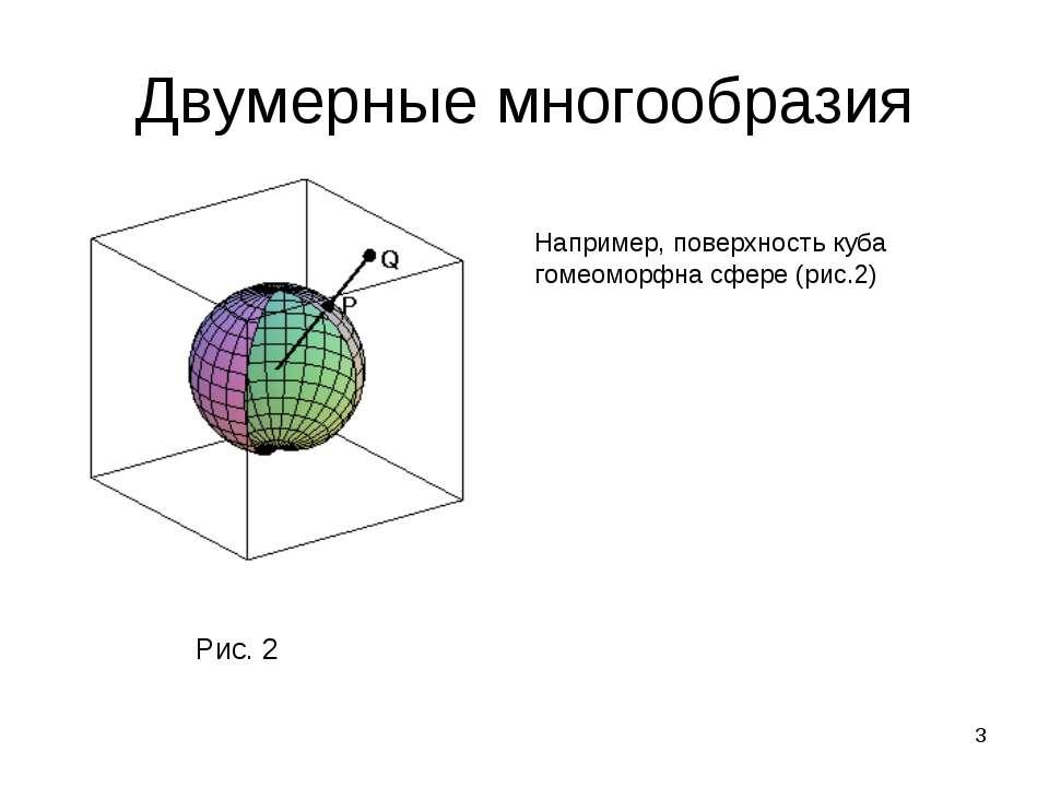 * Двумерные многообразия Например, поверхность куба гомеоморфна сфере (рис.2)...