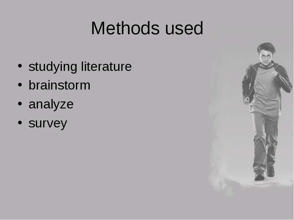 Methods used studying literature brainstorm analyze survey