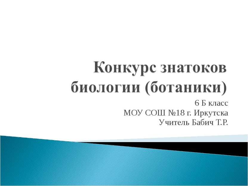 6 Б класс МОУ СОШ №18 г. Иркутска Учитель Бабич Т.Р.