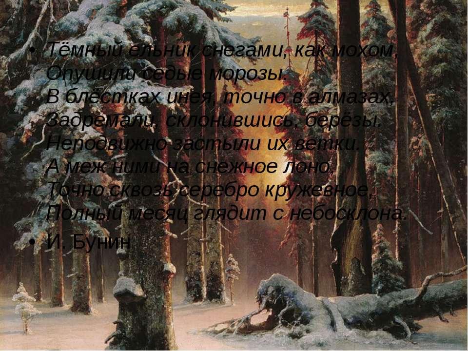 Тёмный ельник снегами, как мохом, Опушили седые морозы. В блёстках инея, точн...