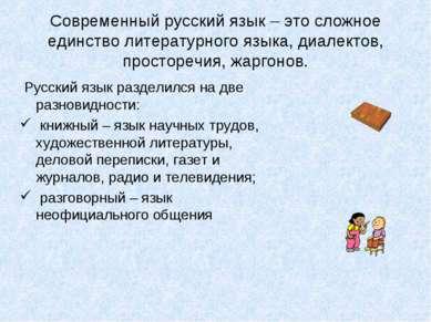 Современный русский язык – это сложное единство литературного языка, диалекто...