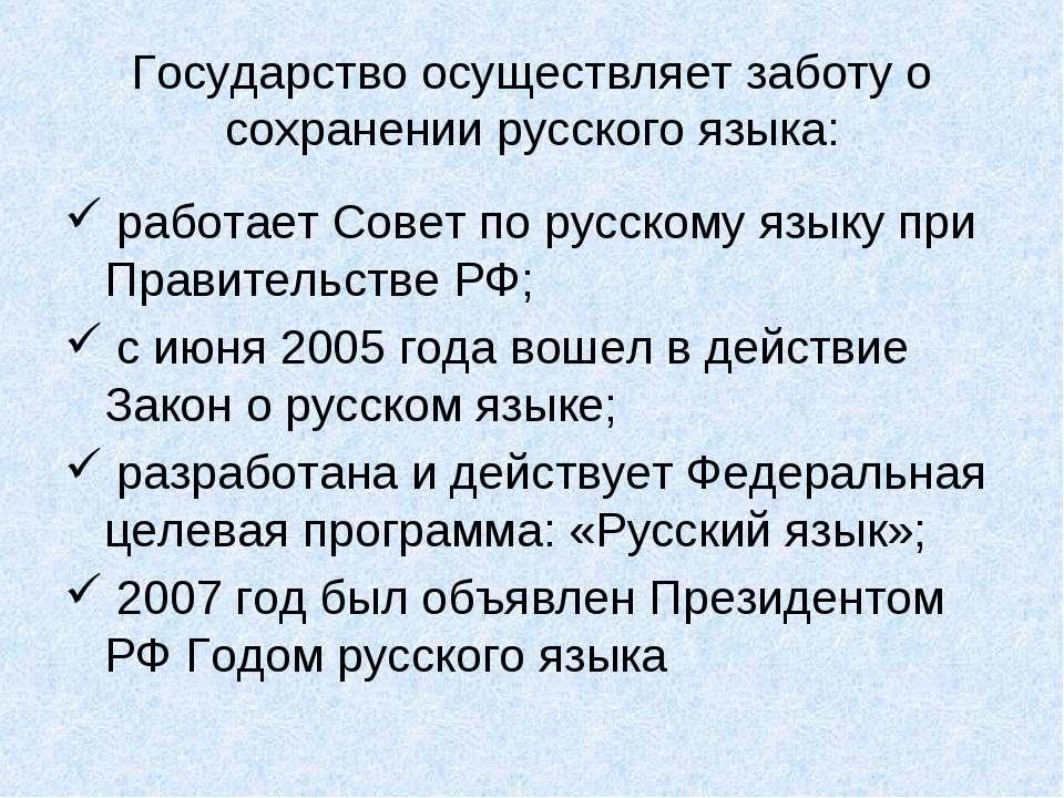 Государство осуществляет заботу о сохранении русского языка: работает Совет п...