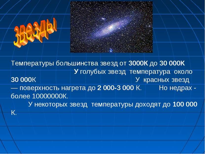 Температуры большинства звезд от 3000К до 30 000К У голубых звезд температура...
